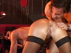 Making an anal threesome in the dungeon tubes