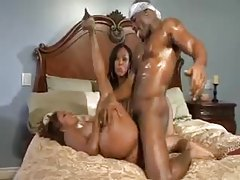 Black girls with great tits fucked hard in foursome tubes