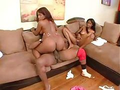 Two sexy black chicks get frisky with his BBC tubes