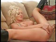 Tapping the ass of the babe in boots tubes