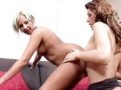 A blonde and brunette eat sultry pussy together tubes