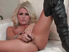 Gorgeous blonde in leather boots dildo fucks her cunt tubes