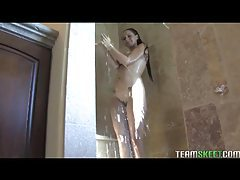 Chick with hot natural tits takes a shower tubes