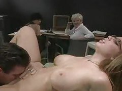 Horny girl in the office sucks cock in front of coworkers tubes