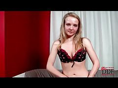 Adorable blonde with small tits strip and tease tubes