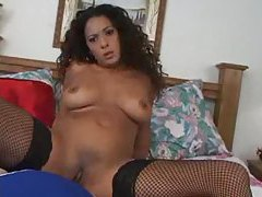 POV fucking a curly hair babe in fishnets tubes