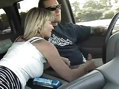 Adventurous milf jerks him off in the car tubes