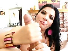 Big titty Rebeca Linares sucks a huge cock in POV tubes
