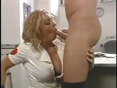 Nurse in white latex dress sucks cock tubes