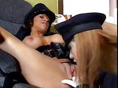 Lesbian cops in gloves fondle and lick pussy tubes