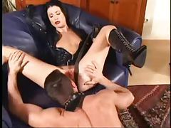 Chick in latex and lipstick suck and lusty fuck tube