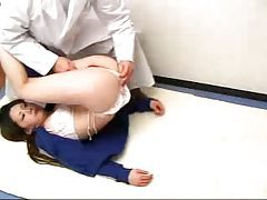 Doctor fondles and gropes the cute sporty Japanese teen tubes