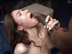 Horny amateur chomping on the big black cock tubes