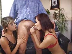 Lucky man has two ladies to rim out tubes