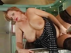 Full body mature takes young cock in her kitchen tube