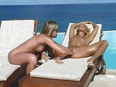 Hot Euro lesbian play by oceanside pool tubes
