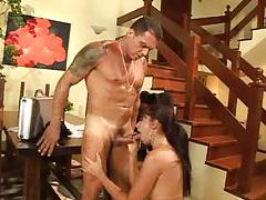 Babe does a dance and sucks his cock tubes