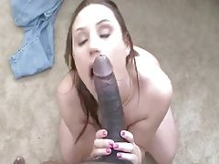 Beauty on her knees worshipping big black cock tubes