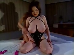 Japanese girl in latex corset big titty play tubes