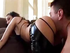 Latex chaps chick fucked up the butt tubes