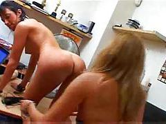 Lesbian slave on the desk ass toyed tubes