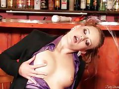 Hottie in a purple satin blouse pissed on tubes