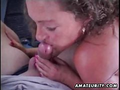 Mature amateur wife sucks and fucks in a car with facial cumshot tubes