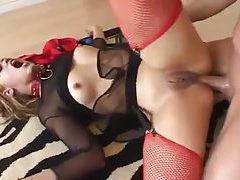 Horny fuck slut in lingerie nailed in the ass tubes