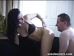 He soaps up her asshole and licks it clean tubes