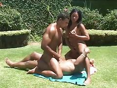 Latin outdoor bisexual threesome with anal tubes
