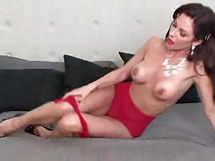 Full on glamorous pornstar in red lace lingerie tubes