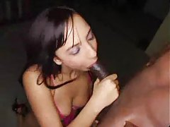 Hot chick in red lipstick sucks monster cock tubes