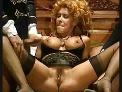Curly hair and corset slut fucked in retro movie tubes