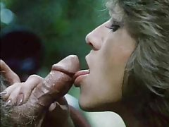 Sexy retro blowjob outdoors with facial tubes