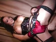 Slut in satin gloves fucked hard in aggressive scene tubes
