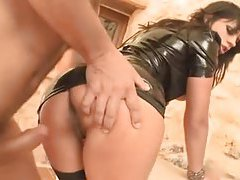 Naughty girl in latex anal sex outdoors tubes