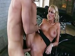 Busty chick fucks dude in a body bag tubes