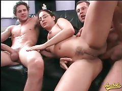 Nerd in glasses hardcore threesome with facials tubes