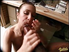Girl gives two blowjobs in the office tubes