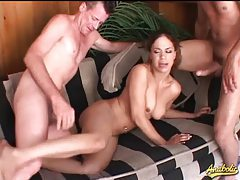 Big dicks compete to open up her holes tubes