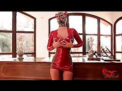 Kinky in tight red latex dress and hood tubes