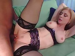 Black guy plugs Nina Hartley with cock tubes