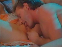 Licking cunt of a retro brunette in lingerie tubes