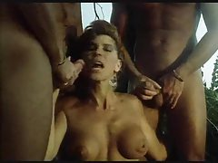 Retro suck and fuck orgy outdoors in a tree tubes
