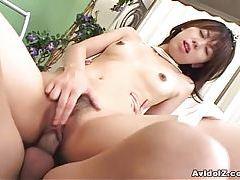 Sexy tight Asian girl Maho Sawai receives a creampie tubes