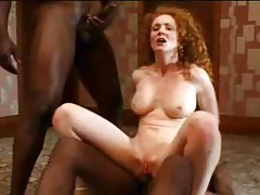 Perfect body on curly hair redhead that loves DP tube