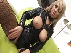 Hot ease from girl in sexy black latex outfit tubes