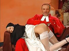 Cardinal and monk have threesome with nun tubes