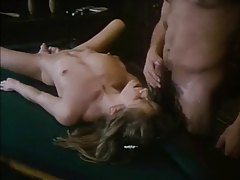 Skinny vintage girl eaten out and fucked on pool table tubes
