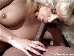 Hairy pussy on a sexy retro blonde takes BBC tubes